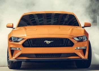 Ford Mustang in orange color