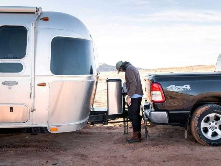 Man checking before towing an RV