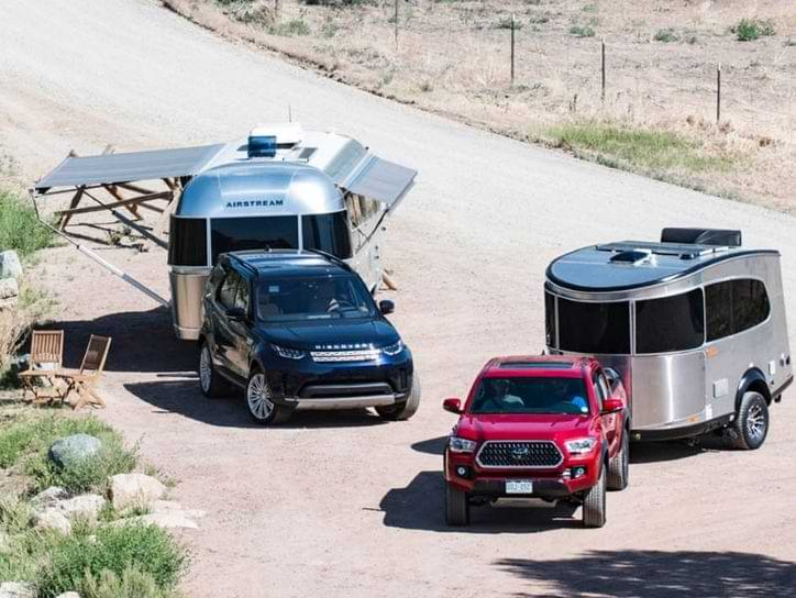 SUV towing Airstream travel trailer