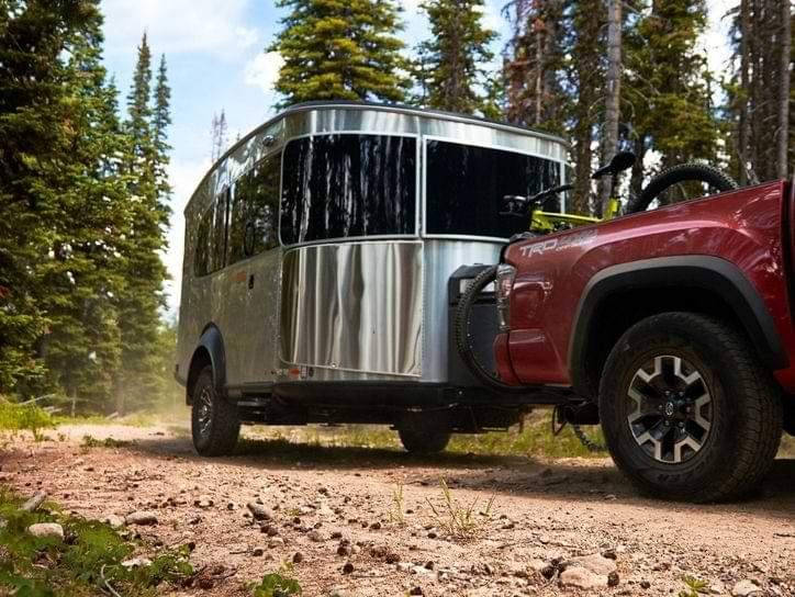 Toyota SUV towing an Airstream travel trailer